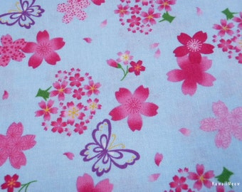 Beautiful Japanese Fabric - Girlie Sakura Butterfly on Blue - Fat Quarter (130228i)