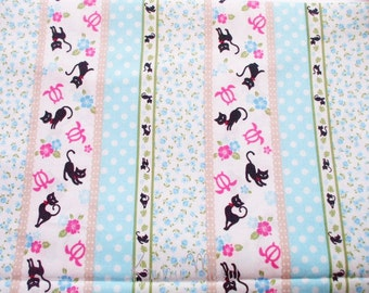 "SALE / Scrap - Stripes Cats Flower Blue - 110cm/43""W x 46cm/18""L (u0104)"