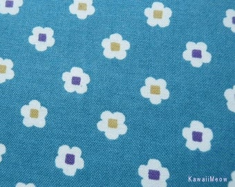 Kimono Japanese Fabric - Petit flower Plum on Blue - Half Yard (no130505)