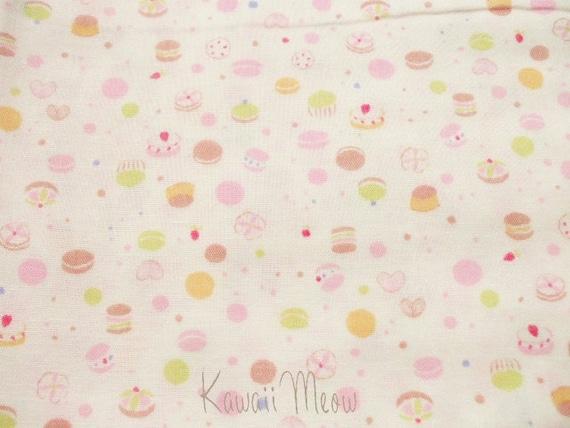"SALE - Scrap - Petit Sweets Vanilla x Pink Double Gauze - 1 Yard 108cm/42.5""W x 100cm/39""L (ma0426)"