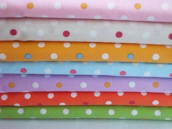 SALE - Cute Polka Dots - Fat Quarter Set of 7  (ko0805)
