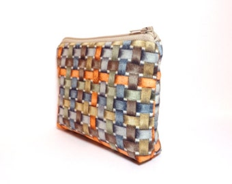 Ready to Ship, Liberty of London Pouch, Small Zipper Pouch. Coin Purse, Cute Pouch, Gift for Her, Fabric Pouch, Orange and Grey Basketweave