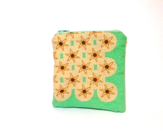 Small Pouch Small Wallet Small Change Purse - Japanese Print Mint Star Flowers
