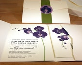 NEW SAMPLE Orchid Pocketfold Wedding Invitation, Modern