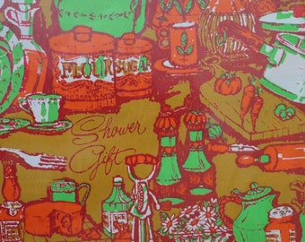 Vintage Shower Gift Wrap 1970s Laurel Brand Wrapping Paper-Green, Orange & Old Gold  2 Sheets NIP