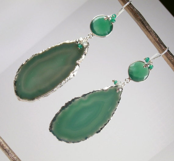 RESERVED - SALE 35% off - Emerald Green Agate Slice Earrings Emerald Onyx Long Dangle Earrings Bold Statement - Janine