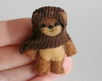 Ewok miniature plush Star Wars character - hand stitched felt figure