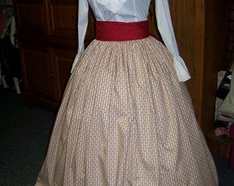 Colonial,Civil War,Victorian,costume Long SKIRT and Sash one size fit all Red Stripes with Navy Hearts and Red Sash