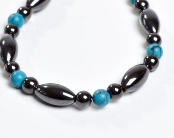 Magnetic Bracelet - Magnetite with Turquoise Accents