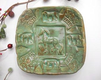 Horse Bowl Ceramic Bowl - Equestrian gift - Green