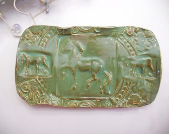 Horse Tray -  Dish - Sponge Holder - Ceramic Handmade Pottery