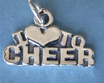 Sterling silver I Love to Cheer on a 16 inch dot dash silver plated chain