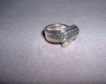Vintage Silver Plated Vintage Spoon Ring Handcrafted Size 7 to 8