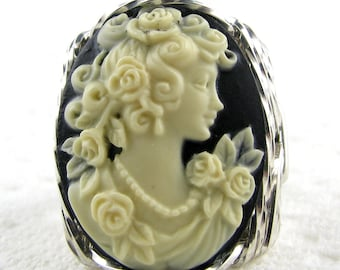 Rose Grecian Goddess Cameo Ring Sterling Silver Custom Jewelry