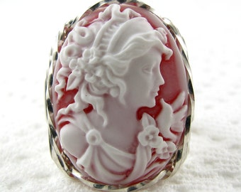 Fine Grecian Goddess Dove Cameo Ring Sterling Silver Jewelry
