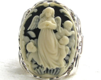 Guardian Angel Cherubs Cameo Ring Sterling Silver Jewelry