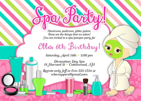 Pamper Birthday Party Invitations Spa Party Sweet and – Pamper Party Invites