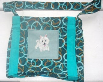 Westie Dog Hand Embroidered Fabric Purse