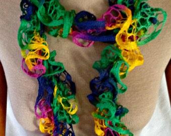 Crochet Sashy scarf, Ruffle scarf, hand crochet for women, young women, and girls, BALLOONS  Rumba Ruffle Scarf (Ready to Ship)