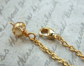3 Inches Crystal Necklace Extender - Gold Plated- Gold, Golden, Sun, Chain, Cute, Classic