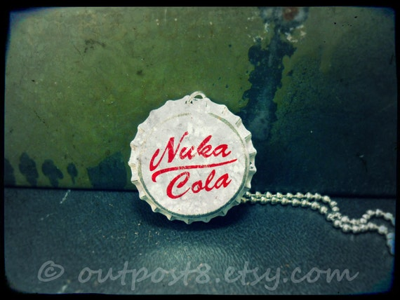 Fallout inspired Nuka Cola Victory bottle cap necklace. The original. Featured in Playstation Magazine.