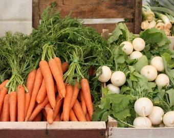 Food Photography - Paris Market Days - Orange Carrots - White onions - Paris, France photograph  - kitchen wall art - french kitchen art