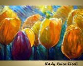 TULIPS in the RAIN Original Modern Impressionist Impasto Oil Painting Yellow Spring Flowers by Luiza Vizoli - LUIZAVIZOLI