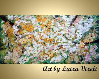 SPRING CHERRY BLOSSOM Original Modern Abstract Tree Landscape Palette Knife Impasto Large Painting by Luiza Vizoli