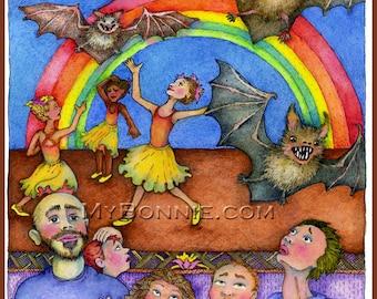 BAT BALLET Dance Recital - Collective Noun. Poem. Signed. Numbered. Limited Edition. Bonnie Gordon-Lucas. My Bonnie Designs