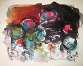 sale/abstract original fiddlehead painting landscape, fiddlehead  art fiddlehead abstract fiddlehead, orange blue pink purple painting 22x30