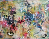 large calligraphy, pinkyellow Abstract Painting Art blue black painting Original abstract calligraphy Art Colorful art sj.kim