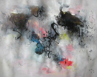 """sale---------Olive Abstract Painting, grey landscape, 18""""x24""""black pink Original seascape contemporary modern landscape painting by sj.kim"""