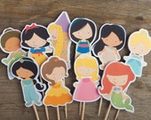 Princess Party - Set of 12 Assorted Princess Cupcake Toppers by The Birthday House