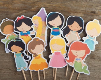 Princess Party - Set of 48 Assorted Princess Cupcake Toppers by The Birthday House