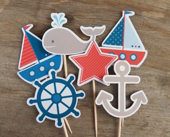 Nautical Birthday Party Set of 48 Nautical by TheBirthdayHouse