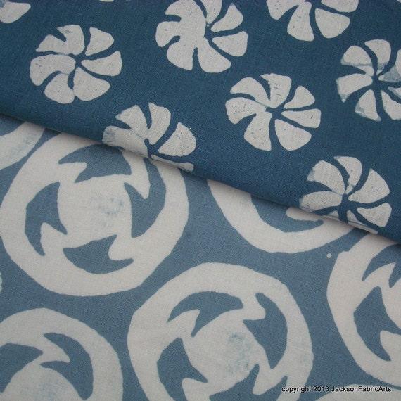 Hand Dyed Batik Fabric Linen Bundle Blue Greys