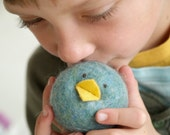 Wool Chick Toy, Needle Felted Wool Bird, Waldorf Toy, Felt Toy, Blue, Toddler Toy, Baby Toy, Stuffed Animal, Plush - Christmas Gift