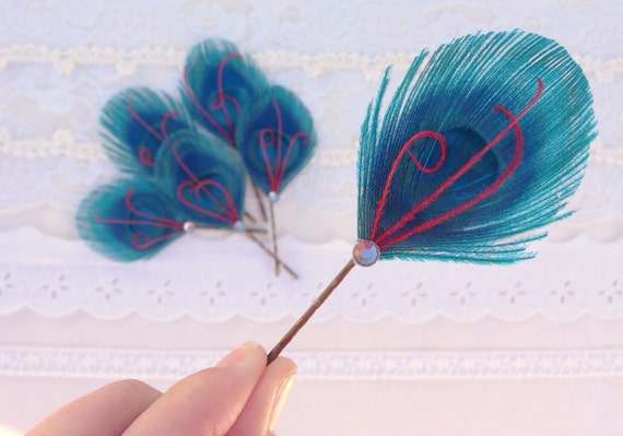 r e s e r v e d for Maggie - 5 turquoise hair pins with 2 tiny white feather and clear crystal accent