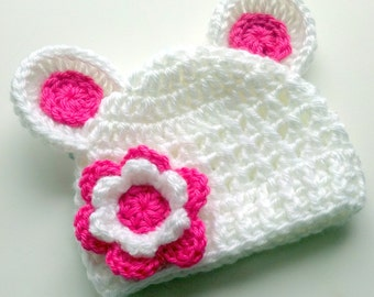 Baby Hat, Baby Girl Hat, Hat with Ears, Infant Winter Hat, Newborn Crochet Beanie Hat with Ears and Flower, White, Hot Pink, MADE TO ORDER