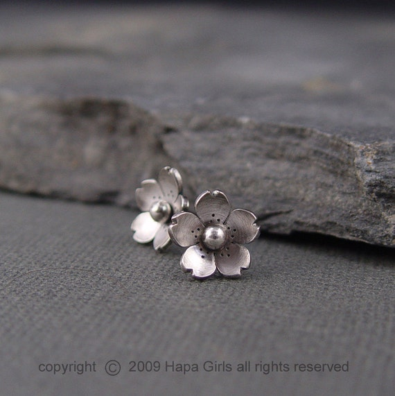Cherry Blossom Earrings - Sterling silver Sakura Post earrings, Spring Jewelry, Gifts for her, Gifts under 40.00,