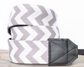 MADE TO ORDER - Camera Strap - Grey and White Chevron