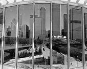 Chicago Skyline from the Modern Wing: Black and White Photo