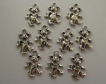 Dancing Bear Charms- 10 charms- antique silver charms