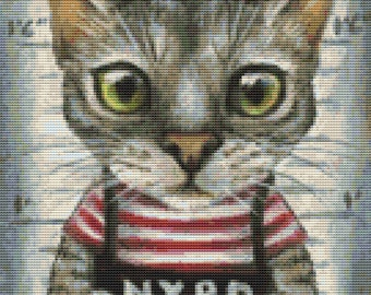 Cat Cross Stitch Kit, Tanya Bond Mugshot of a cat felon arrested while attempting a New York bank heist, Counted Cross Stitch, Modern Stitch