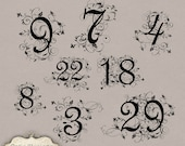 Swirly Fancy Numbers - Clip Art - Commercial Use - - 0 thru 31 - Cards, Scrapbooking, Invitations - INSTANT DOWNLOAD -