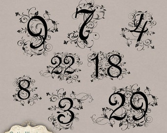 Fancy table numbers | Etsy