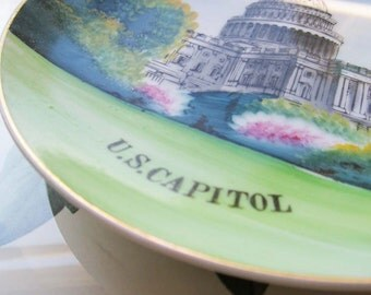 Vintage US Capitol Hand Painted Wall Plate * made in Japan * Decorative Wall Plate *