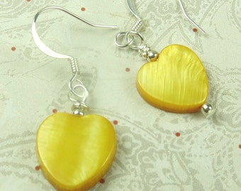 Yellow Shell Heart earrings, holidays, birthdays, sunshine and more