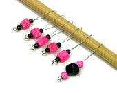 Knitting Stitch Markers Set, Beaded, Snag Free, Pink Cube, Black, Knitting Tool, Knitting Accessory SALE PRICED