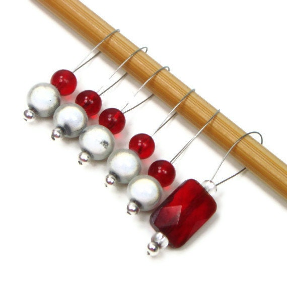 Beaded Stitch Markers Set, Knitting. Snag Free, Ruby Red, Silver, Gift for Knitter, DIY Crafts, TJBdesigns